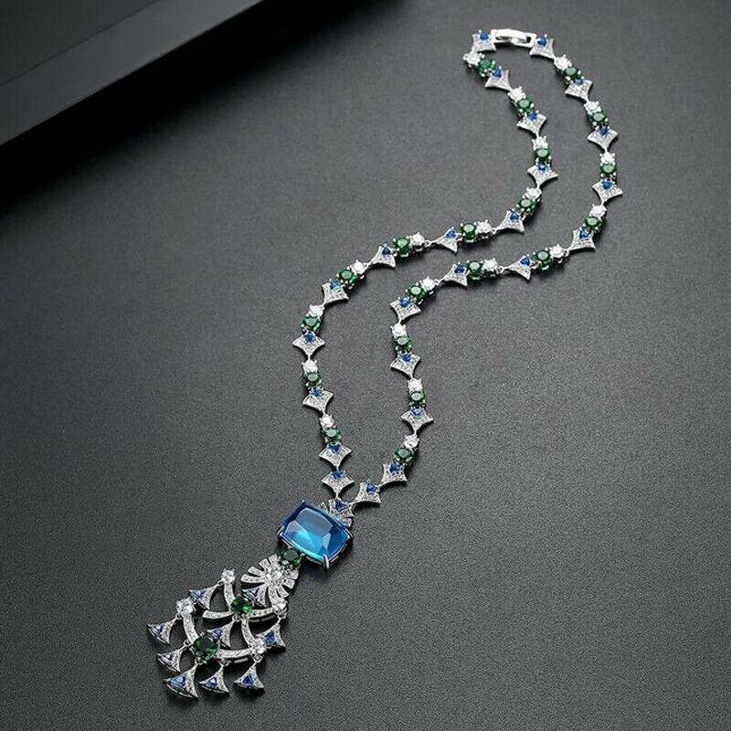 AAA cubique Zircon longue chaîne pendentif collier déclaration gemme pendentifs strass cristal chandail femmes bijoux fête cadeaux mode