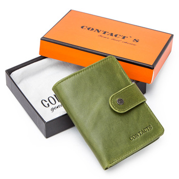 Contact's Genuine Leather Wallets Women Men Wallet Short Small Rfid Card Holder Wallets Ladies Red Coin Purse Portfel Damski 18