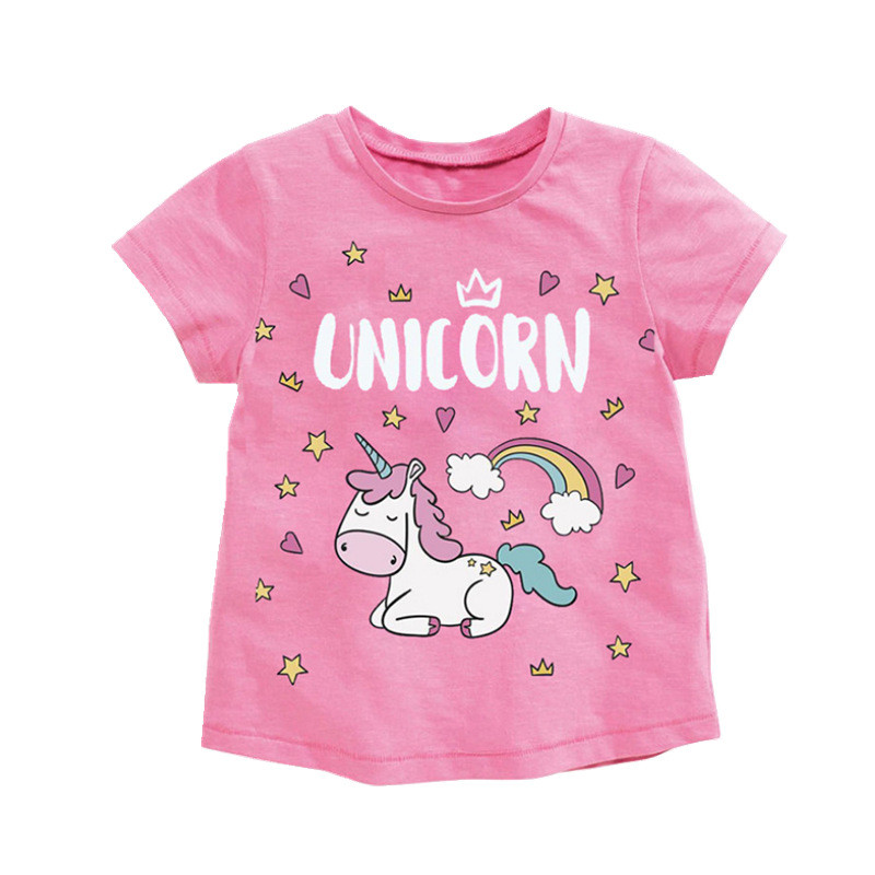 Jumping meters Girls Pink Cotton T shirts for Summer Stripe Children Clothes Animals Print New 2020 Kids s Tees