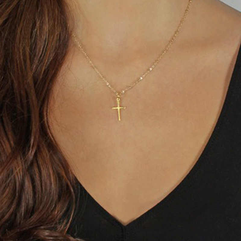 Summer Gold Chain Cross Necklace Small Gold Cross Religious Jewelry Women's Necklace