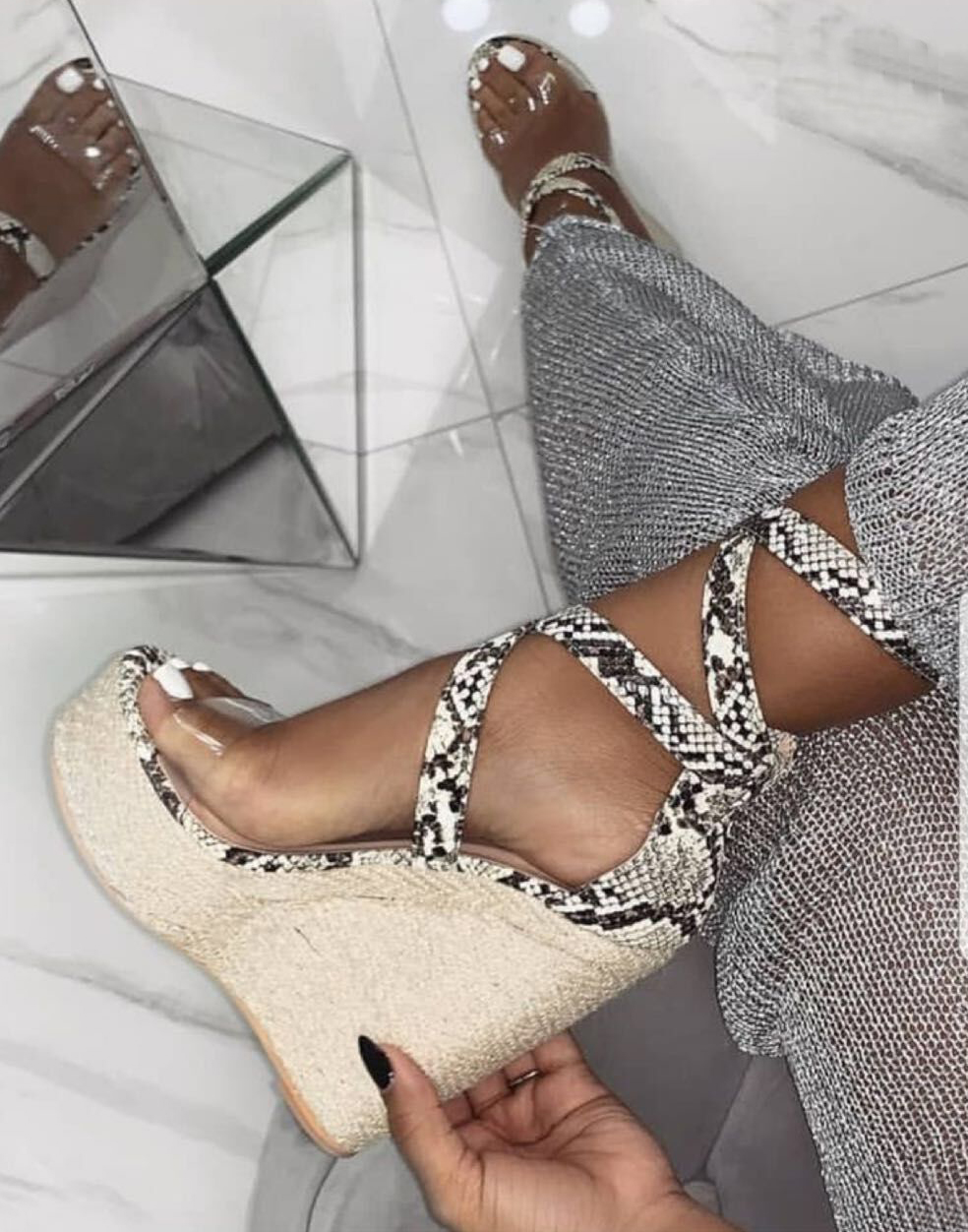 Platform Sandals Wedges Shoes Women Snake High-Heels Plus-Size Open-Toe Summer Ladies