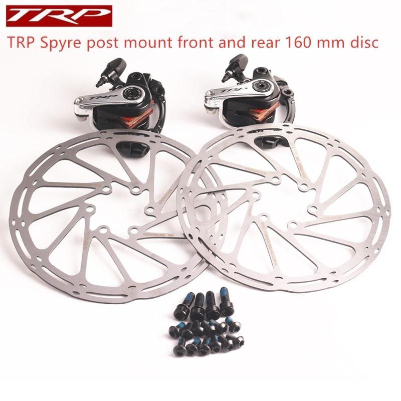 TRP Spyre montage sur poteau avant et arrière comprend 160mm rotor de ligne centrale vélo de route vélo alliage mécanique frein à disque ensemble