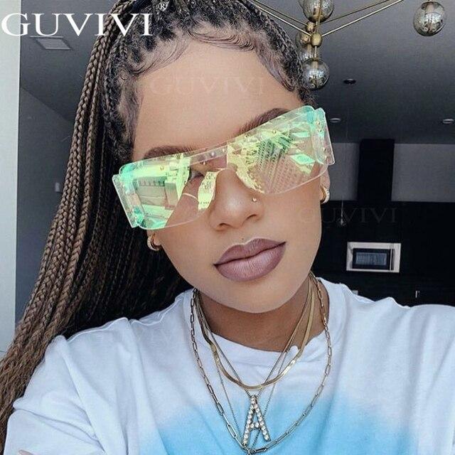 Rimless Square Sunglasses Women 2020 Gradient Rectangle Sunglasses Men Fashion Sunglasses Brand Designer Eyewear Rihanna Style 8