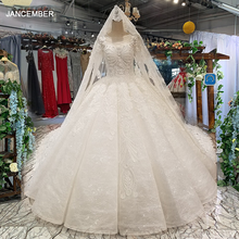 LS35540 muslim plus size wedding dress o neck long sleeve ball gown high quality bridal gown long veil vestido coctel