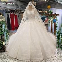 LS35540イスラム教徒のプラスサイズウェディングドレスoネック長袖ボールガウン高品質の花嫁衣装ロングベールvestido coctel