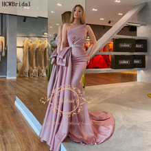 Evening-Dress Satin Rose Backless Party Mermaid Formal Long Plus-Size Pleat Dusty