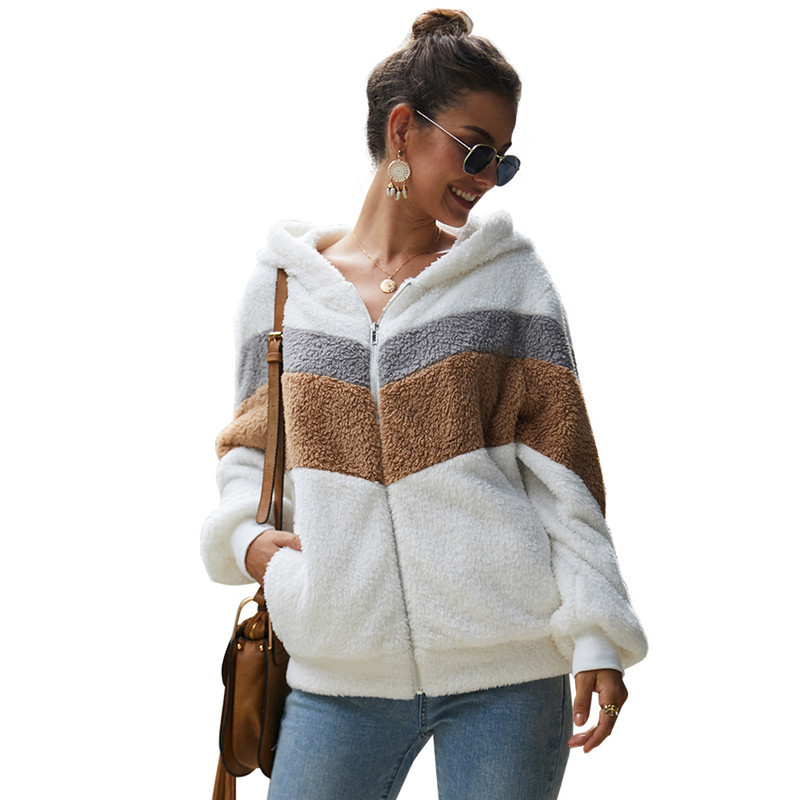 Focal20 Streetwear Solid Color Fluzzy Women Crop Coat Dual Pocket Button Lady Jackets Outers Casual Warm Winter Lady Coats Tops 4