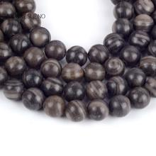 """Natural Black Wood Jaspers Round Loose Beads For Jewelry Making 4-10mm Spacer Fit Diy Bracelet Necklace Accessory 15"""""""
