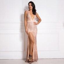 Sexy Deep V Neck Pink Maxi Dress Glittered Sleeveless Patchwork Feather Split Leg Evening Party