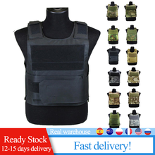 Adjustable Tactical Vest Outdoor Hunting Airsoft Paintball Molle Vest With Chest Protective Plate Carrier Training Protective
