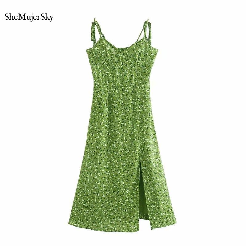 Женское платье на бретельках SheMujerSky, зеленое платье средней длины с цветочным принтом, облегающее платье с эластичным поясом, лето 2020