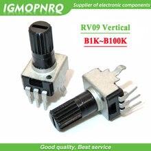 50 pces 0932 potenciômetro ajustável resistência vertical 1k 2k 5k 10k 50k 100k 3pin punho longo 12.5mm rv09 tipo b102 b202 b503