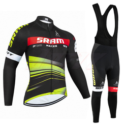 New Winter TEAM SRAM pro cycling jersey Ropa Ciclismo Thermal fleece bicycling wear Maillot Bottoms 9D Pad thin bike pants suit