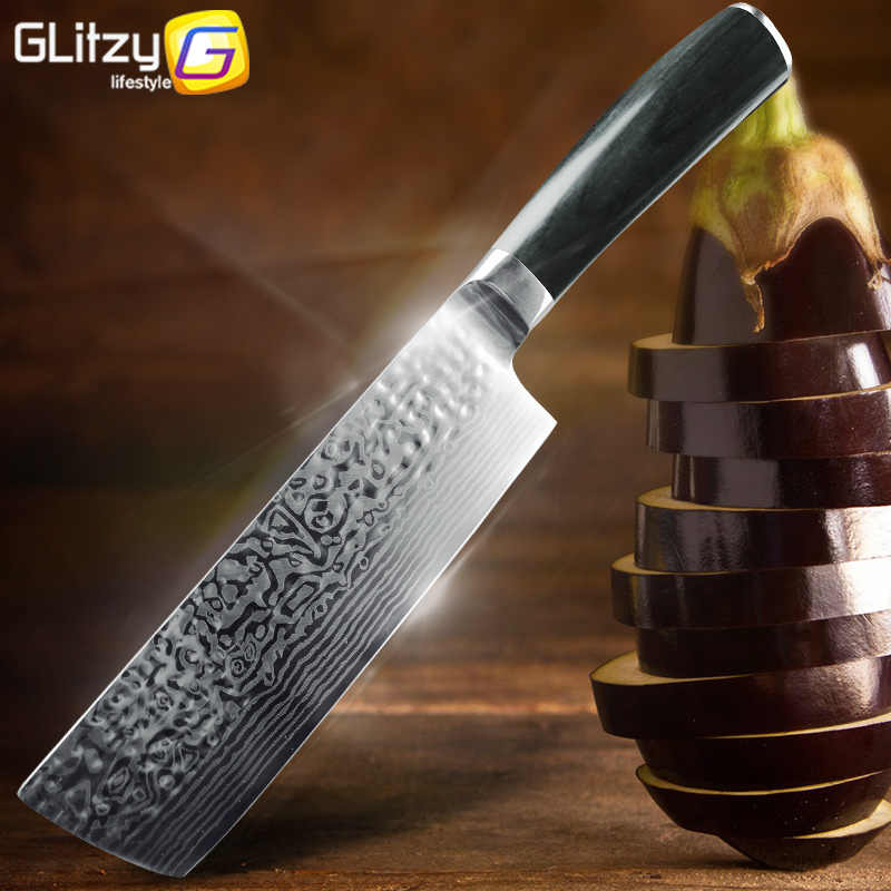 Kitchen Knife 7 inch Cleaver Knife 7CR17 440C Chef German Stainless Steel Imitation Damascus Slicer Santoku Meat Chopping Tool