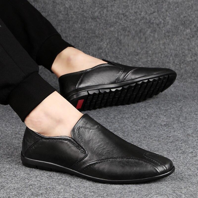 New Genuine Leather Zapatos De Hombre Men Moccasins Soft Shoes Cowhide Casual Large Size Men Loafers