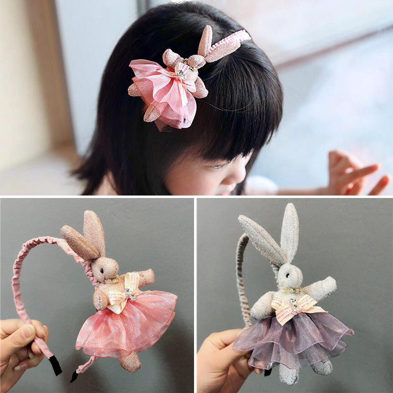 New Cute Rabbit Headbands Pink Hairband Headwraps Animals Hairpins Plush Rabbit Ears Girls Hair Clips Hair Accessories