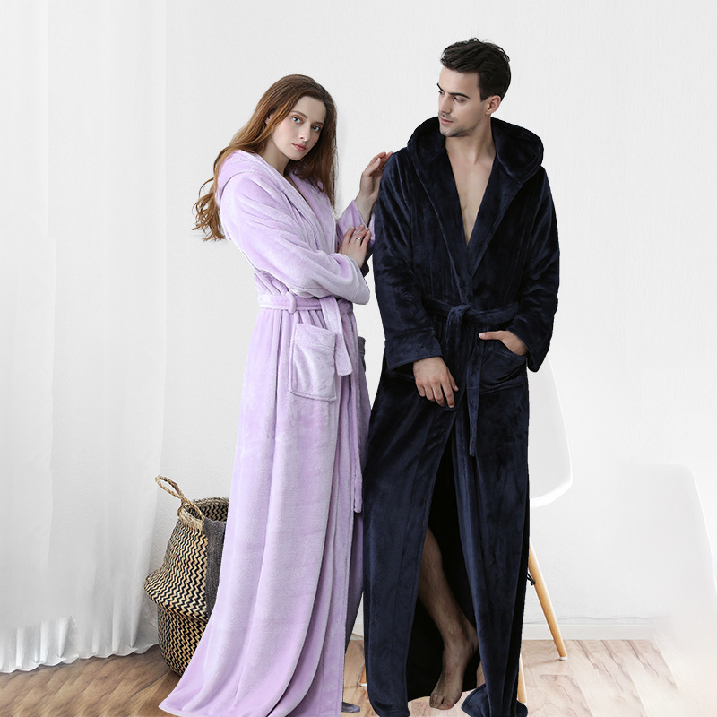 Women Winter Hooded Extra Long Thick Flannel Bath Robe Luxury Peignoir Warm Dressing Gown Men Bathrobe Bridesmaid Wedding Robes