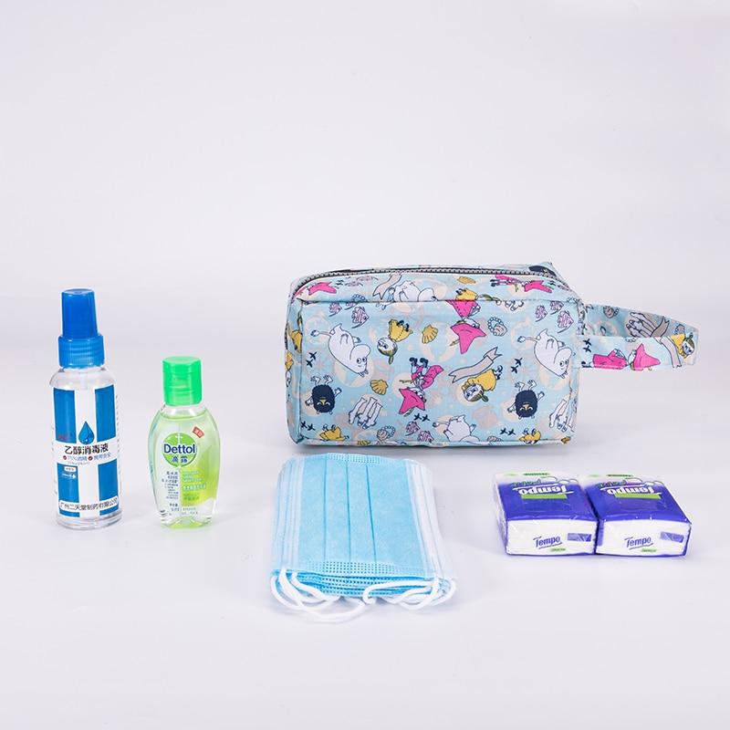 Portable Lipstick Travel Cosmetic Bag Women Cartoon Cases Make Up Toiletries Organizer Lightweight Waterproof Storage Handbags
