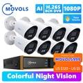 Movols 2MP AI Colorful Night Vision CCTV Kit H.265+ Waterproof Video Surveillance System 8CH DVR 8PCS/4PCS Security Camera Set