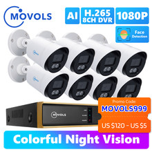 Movols 2MP AI Colorful Night Vision CCTV Kit H.265+ Waterproof Video Surveillance System 8CH DVR 8PCS/4PCS Security Camera Set
