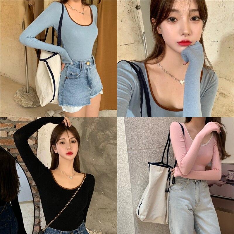 3 colors autumn korean style u neck womans tops color patchwork slim long Sleeve t-shirt Womens Tees shirt femme (R99359) 5