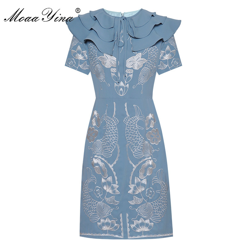 MoaaYina Fashion Designer dress Summer Women's Dress Short sleeve Ruffles Embroidery Dresses