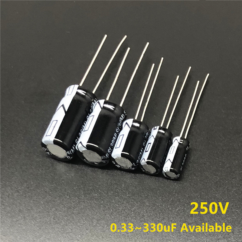 250V 0.33uF/1uF/2.2uF/3.3uF/4.7uF/10uF/18uF/22uF/33uF/47uF/56uF/68uF/180uF/220uF/330uF Aluminum Electrolytic Capacitor