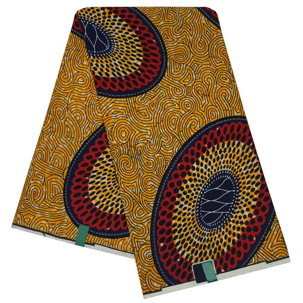 African Ankara Nigeria Pagne Guaranteed Tissus Africain Wax Yellow Polester Pattern Printed Fabric For African Clothing