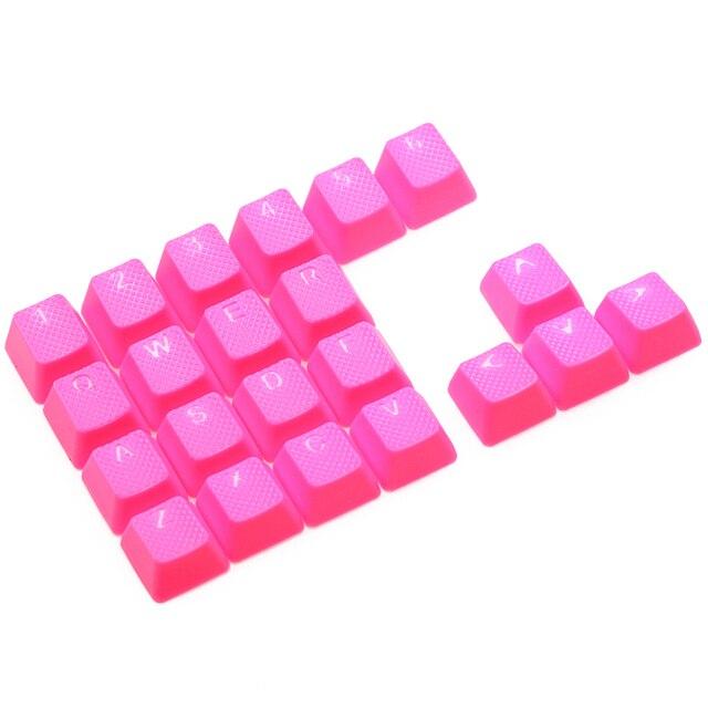 Taihao Rubber Gaming Keycap Set Rubberen Doubleshot Cherry Mx Oem Profiel 22 Sleutel Magenta Paars Neon Groen Geel Licht Blauw