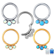 1PS 316L Surgical Steel CZ and Color Opal Hinged Ring Nose Ring Open Small Nasal septum Female Body Perforated Earring Jewelry