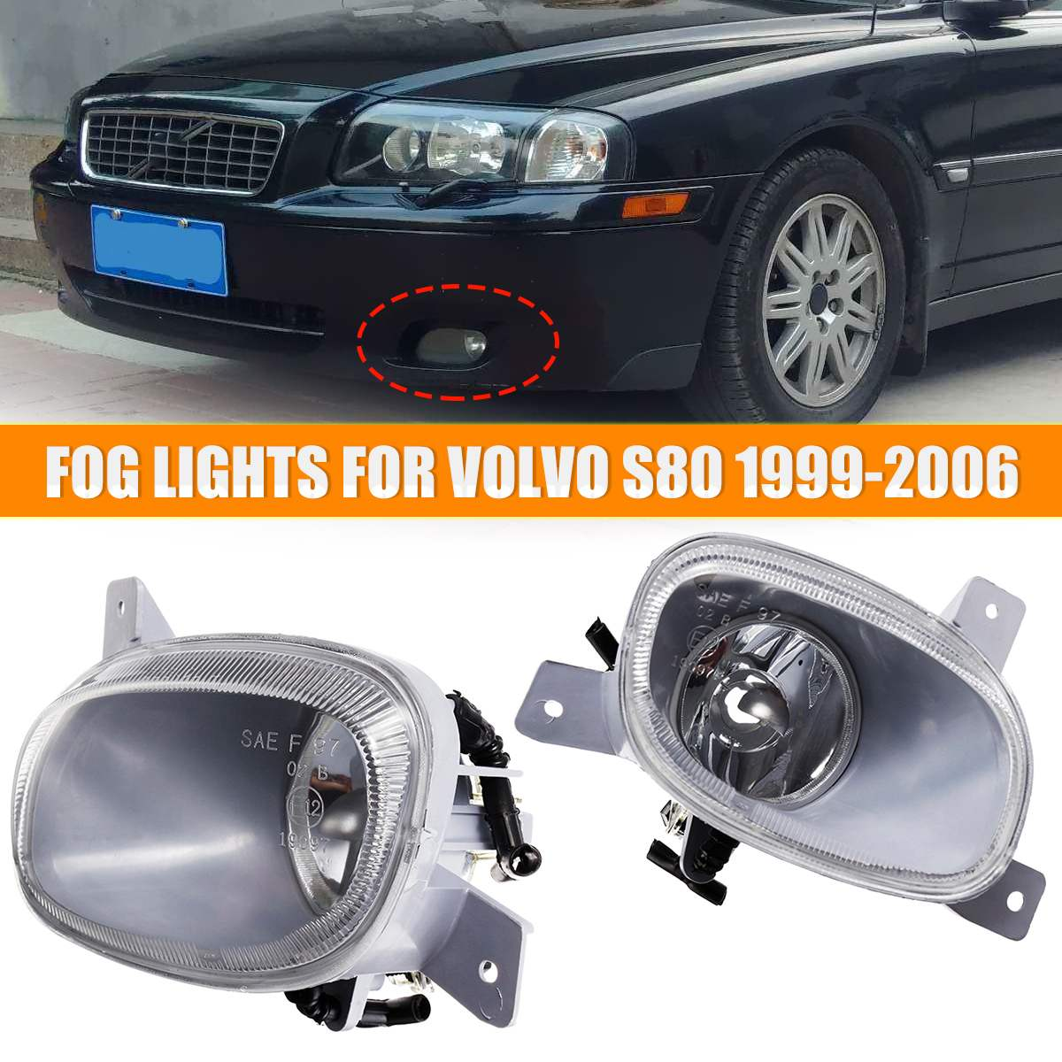 Car Fog Light For Volvo S80 1999 2000 2001 2002 2003 2004 2005 2006 Car Front Bumper Fog Lights With No Bulb Left Right #8620224