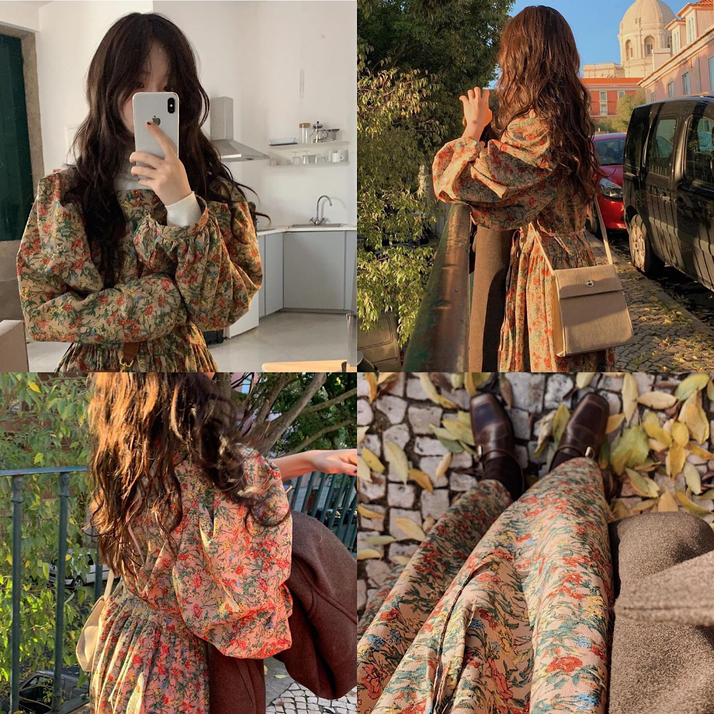 S XL Plus Size New Spring femme Dress Girls print Boho Female Vintage Dress black Long Sleeve Women Dresses long Robe Vestido