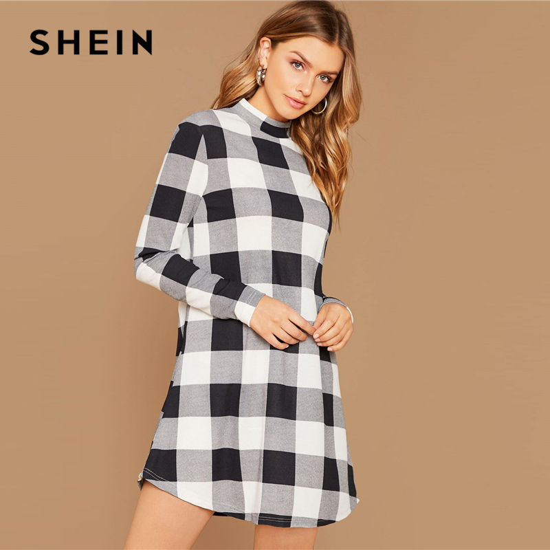 SHEIN Black And White Stand Collar Gingham Casual Short Dress Women Autumn Long Sleeve Ladies Basic Straight Pencil Dresses 1