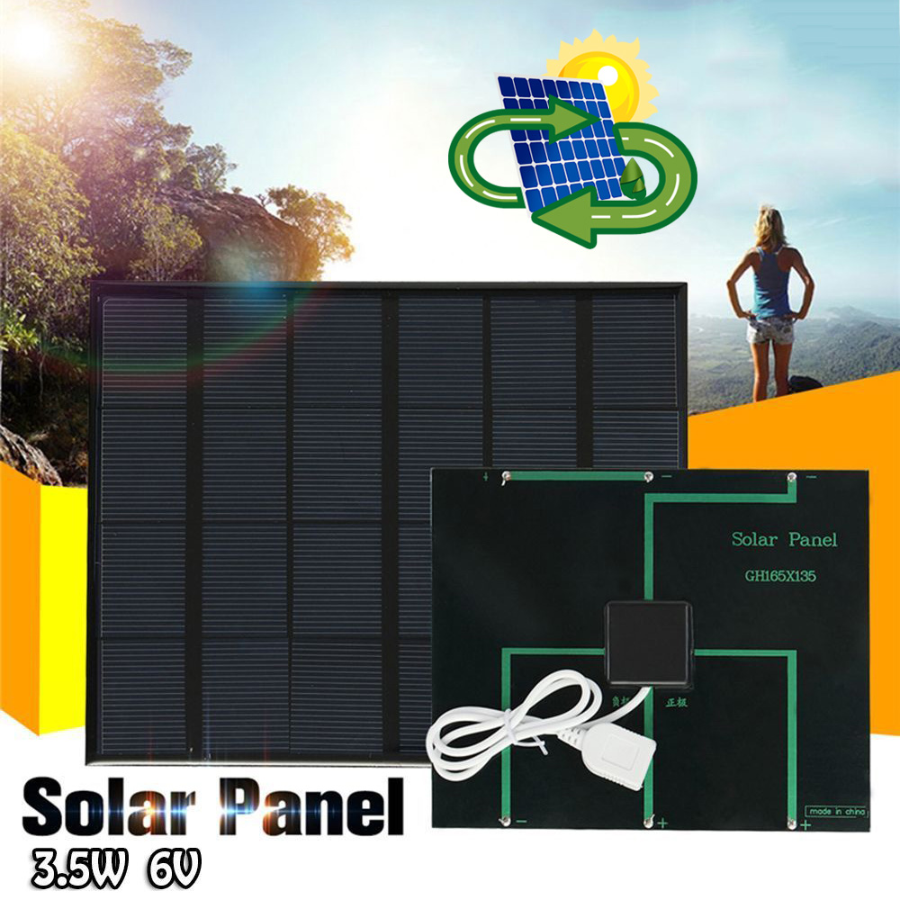 Solar Panel System Charger 3.5W 6V Charging for Mobile Phone Power Bank Camping can CSV