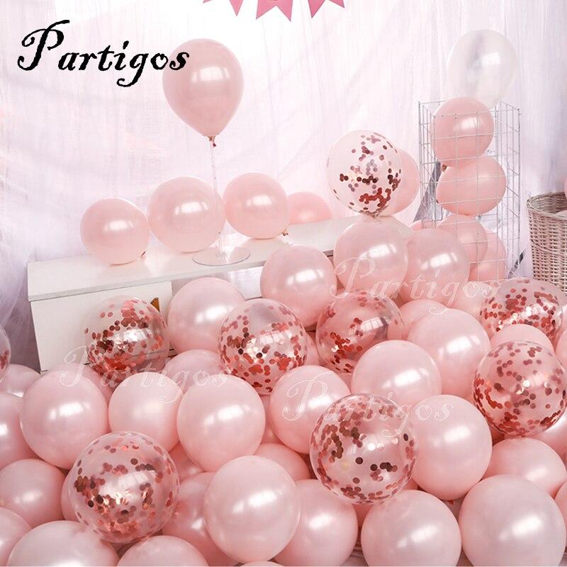 20 pçs rosa rosa ouro confetes balões conjunto cromo metálico ballon festa de aniversário decoração do casamento aniversário globals