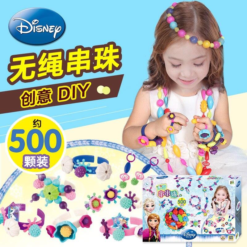 Disney Snow String Beaded Bracelet Children Cordless Beaded Bracelet Jewelry Toy Flexible Creative Play House Toys