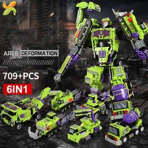 Image 2 - 709PCS 6IN1 שינוי הנדסת כלי רכב רובוט אבן בניין מכונית חופר משאית עיר בנאי ילדי לבנים צעצועים
