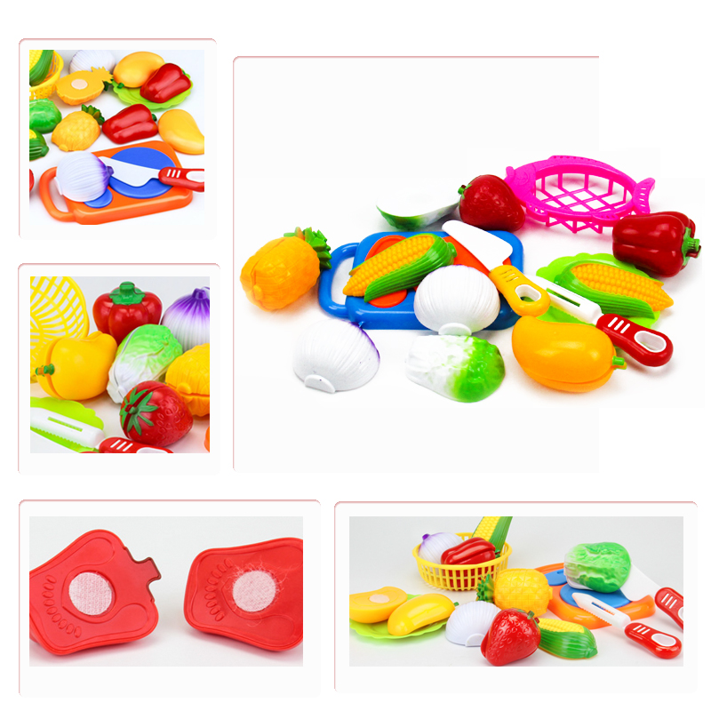 12PCS Kitchen Toys Cutting Food Fruit Vegetable Pretend Play Toy Plastic Educational Gift For Baby Kids