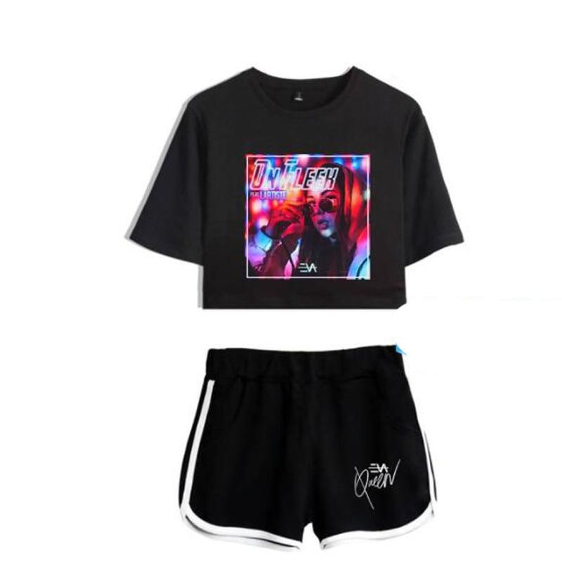 New Luxury Harajuku Fashion Eva Queen Two Piece Set Women Sexy Shorts+T-shirt Eva Queen casual summer Sports sexy Girls suits