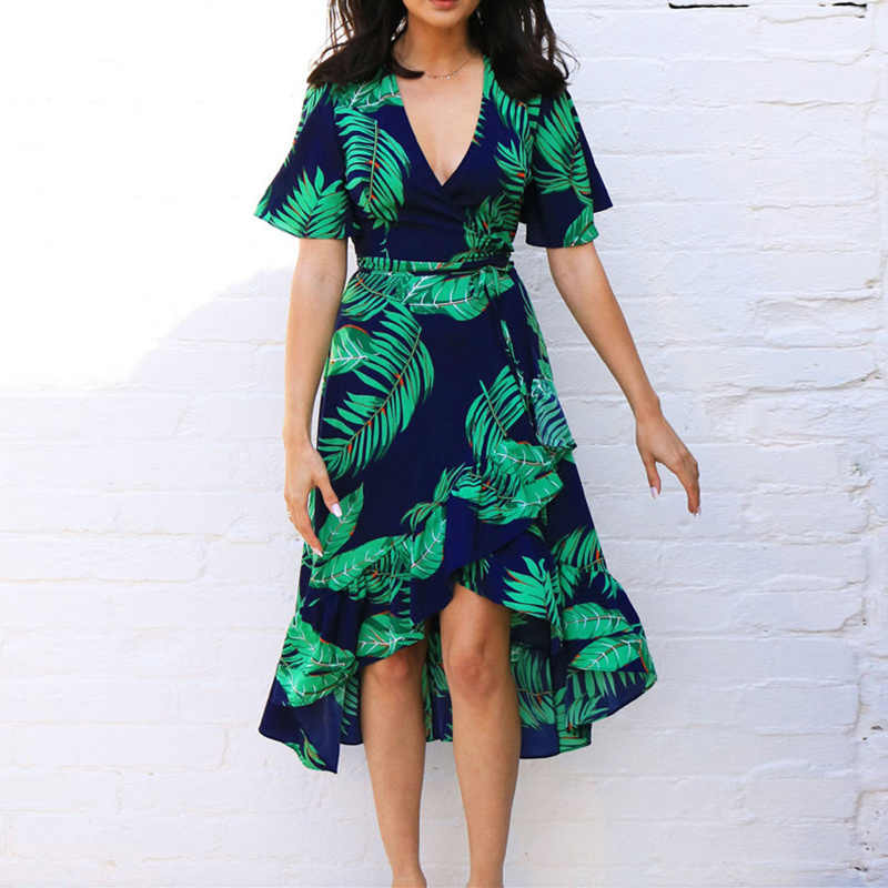 Aachoae Frauen Floral Print Lange Kleid Boho Stil Sommer Strand Kleid Kurzarm Elegante Kleid Sommerkleid Vestidos