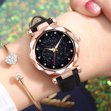 Relojes de pulsera de lujo con cielo estrellado para mujer, relojes de pulsera de cuarzo de cuero, reloj de pulsera moderno para mujer, Orologio Donna
