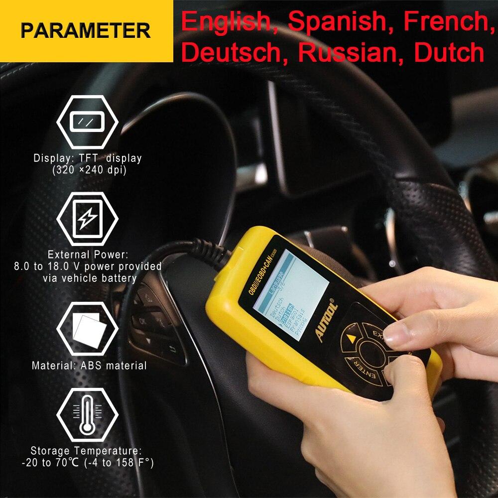 Autool Multi-language OBD2 Car Code Reader Auto Diagnostic Scanner Auto Vehicle Scan Automotive Diagnostic Tool ODB OBD 2 II