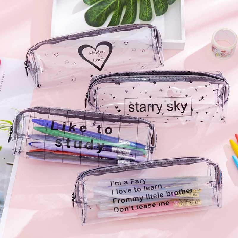Kawaii Starry Sky Heart Pencil Case For Girls Boys Gifts School Cute Transparent Pencil Box Pencilcase Korean School Stationery