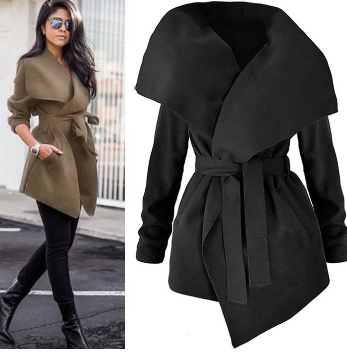 Winter Coats Women Autumn Woolen Blend Fashion Lapel Jackets Sexy V Neck Belt Lace-up Solid Casual Slim Overcoats Female Outer 9