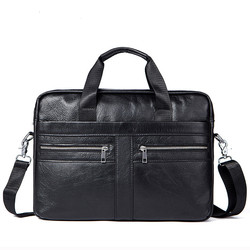 Business Mens Briefcases Mens Bag Genuine Leather Messenger Bags Laptop Bag Leather Briefcase Office Bags for Men 2019