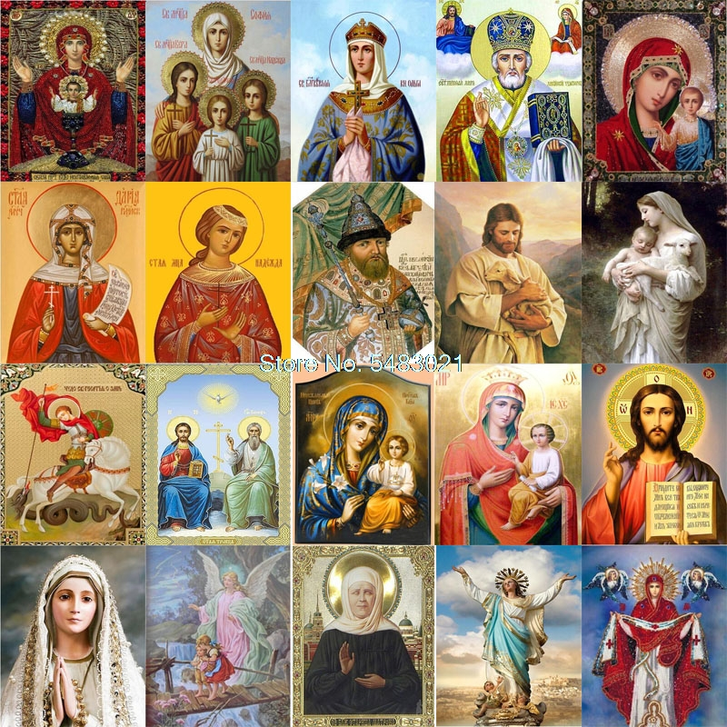 Icons Beads DIY Colorings Pictures By Numbers With Colors Picture Drawing Religious Painting House Decor Painting By Numbers