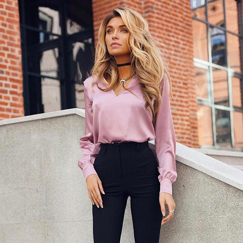 New Arrive 2020 Womens Spring Autumn Casual Sexy Deep V-Neck Office Lady Tunic Tops Long Sleeve Female Red Khaki Pink Shirt Tops