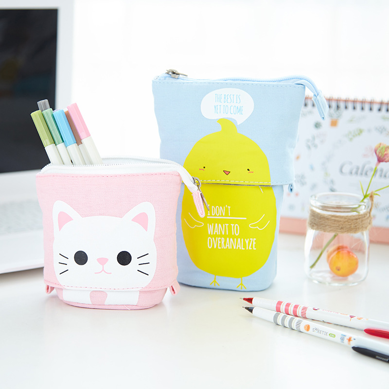 Avocado Cactus Pencil Case Kawaii Pencil Box Canvas Pencil Bags Zipper Pencil Pouch Cat Cute Stationery Gift Pen Box School