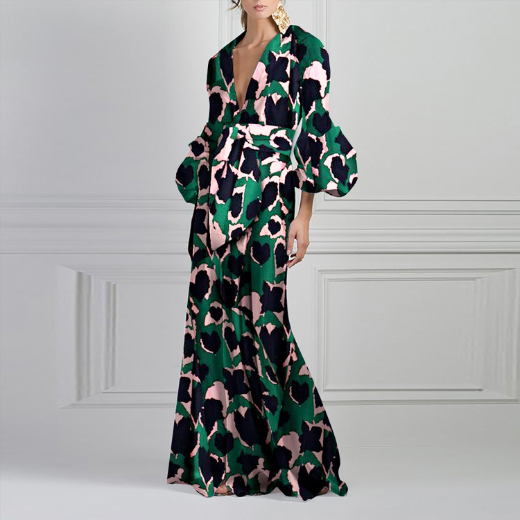 Sexy robe de soirée col v profond femmes 2019 automne bohème Style Floral robe formelle sirène moulante Maxi robe