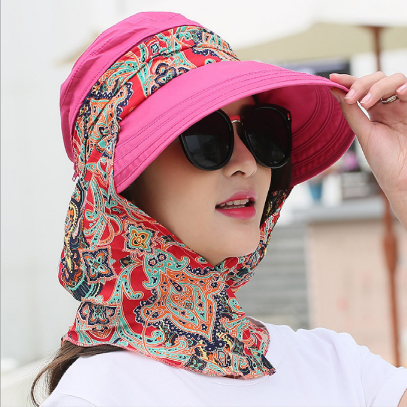 Women Foldable Snapback Sun Hat Lady Summer Floral Beach Hat With Face Neck Cover UV Protection Fishing Cap Panama Visors Female